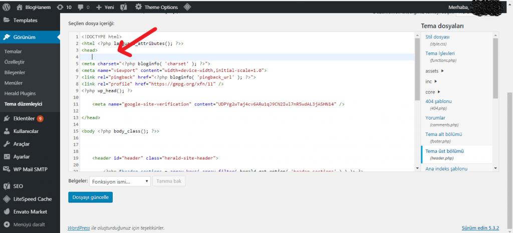 Wordpress Header Bölümüne Kod Ekleme 3