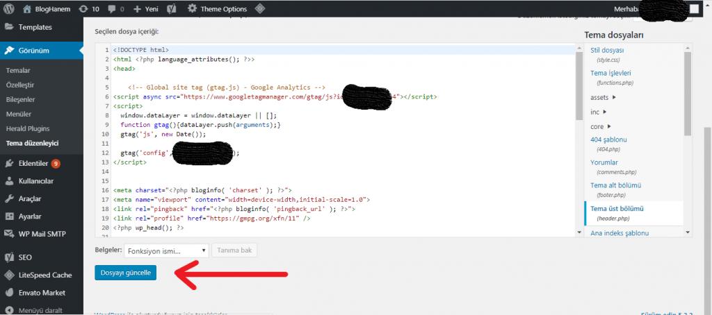 Wordpress Header Bölümüne Kod Ekleme 5
