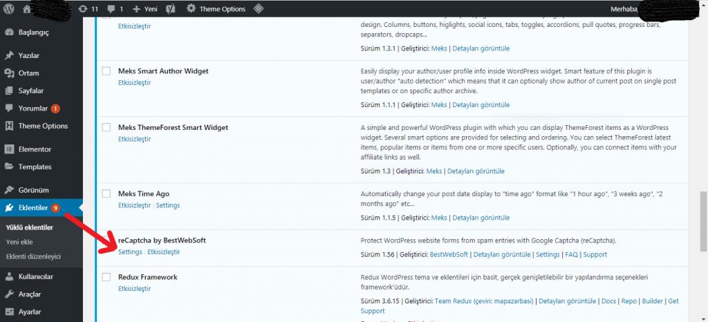 Wordpress reCaptcha Kurulumu 6