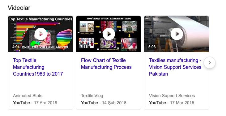 Üretim videolarının Google aramalarındaki görünümü
