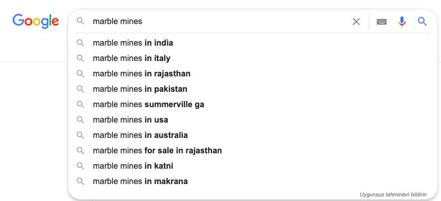Mermer ihracatı için örnek Google aramaları