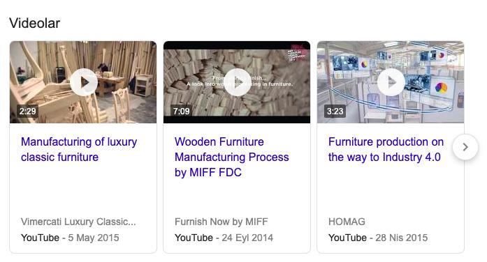 Yabancı dillerde mobilya üretimi süreçleri videolarla anlatılıp daha geniş kitlelere ulaşılabilir.